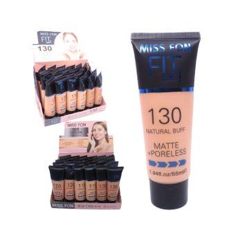 Maquillaje líquido acabado matte, MISS FON, 3 tonos surtidos, inner por modelo suj a disp, 55 ml.
