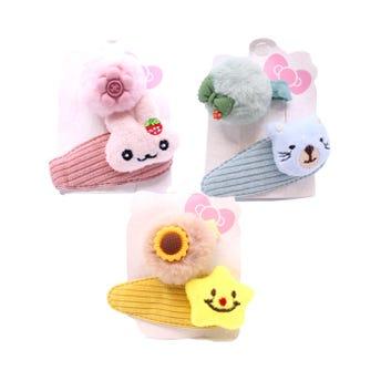 Cuca para cabello de figuras textiles y pinza con pom pom, inner por comb sujeta a disp,  8 cm aprox