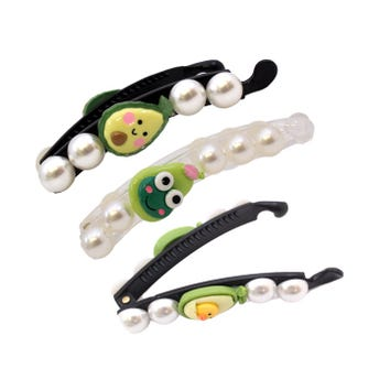 Banana para cabello decorada con perlas y figura de aguacate, inner por color sujeto a disp, 10 cm.