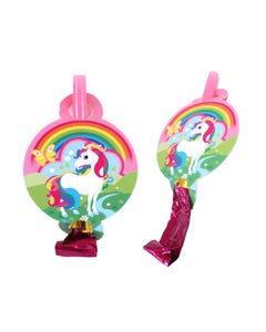 Espanta suegras en set con 6 pz unicornio, rosa, 25 cm aprox.