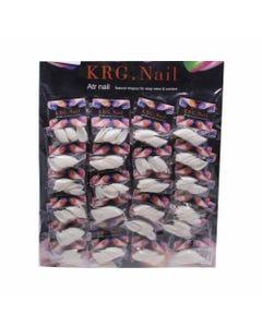 Uña postiza mediana ovalada, KRG, natural, 20 tips.