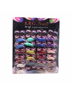 Uña postiza mediana ovalada, KRG, colores surtidos, 20 tips.