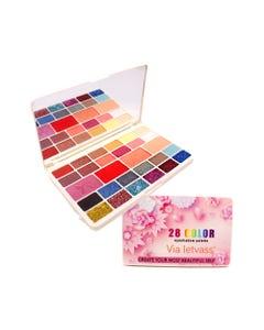 Sombra para ojos, paleta con 28 colores, VIA LETVASS ROSAS, 47 gr, 18 x 10.5 cm.