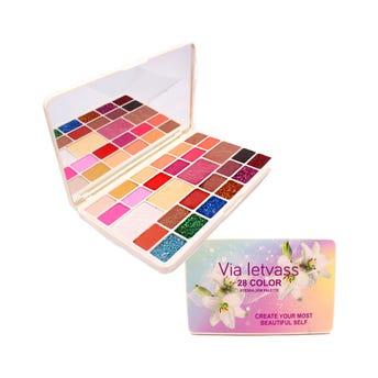 Sombra para ojos, paleta con 28 colores, VIA LETVASS ORQUIDEAS, 47 gr, 18 x 10.5 cm.