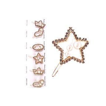 Broche para cabello con figura de cristales y perlas, modelos surtidos, 5 cm.