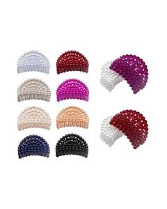 Pinza para cabello abanico tipo perlas, colores surt, 7 cm.