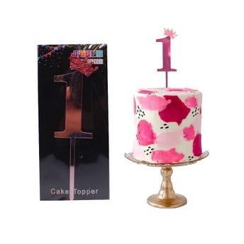 Número decorativo para fiesta tipo espejo, # 1, rosa, 10 cm aprox.