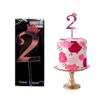 Número decorativo para fiesta tipo espejo, # 2, rosa, 10 cm aprox.
