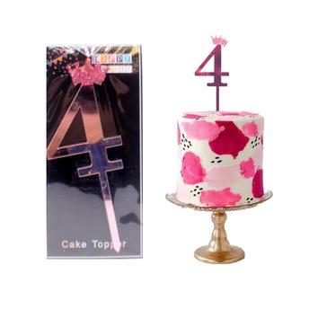 Número decorativo para fiesta tipo espejo, # 4, rosa, 10 cm aprox.