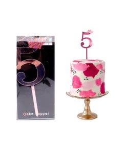 Número decorativo para fiesta tipo espejo, # 5, rosa, 10 cm aprox.