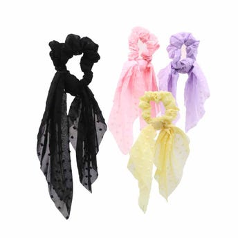 Dona para cabello textil con listones colgantes, colores surtidos, 8 X 30 cm aprox