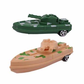 Barco de guerra de fricción, 2 colores surtidos, 13 X 5.5 cm.