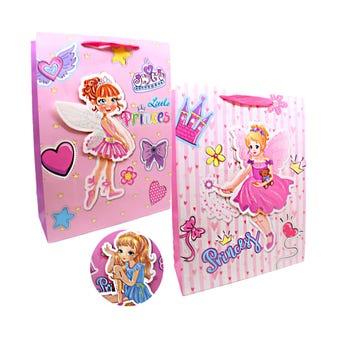 Bolsa para regalo 3D con glitter princess para niña, modelos surtidos, 40 X 30 X 12 cm.