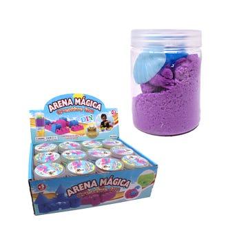 Arena mágica cilíndro de colores surtidos, con accesorios, 7.5 X 5.5 cm.