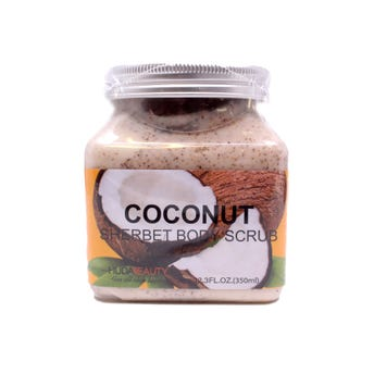 Exfoliante facial y corporal natural, HUDABEAUTY, aroma a coco, 350 ml.