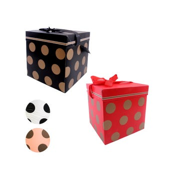 Caja para regalo boleada, colores surtidos, 15 X 15 X 15 cm.