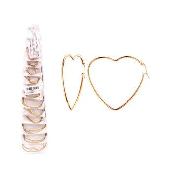 Arete arracada lisa corazón, tamaños surtidos, dorada, de 3.5 a 6.5 cm.