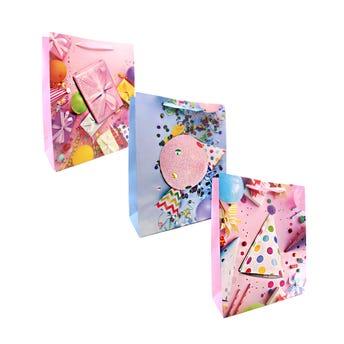 Bolsa para regalo de CUMPLEAÑOS, con glItter 3D, mod surt, 32 X 26 X 10 cm.