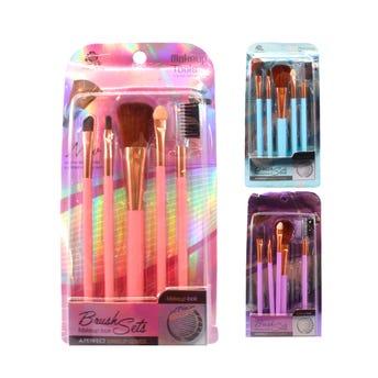 Brocha para maquillaje en set con 5 pz,colores surtidos, 14 cm aprox