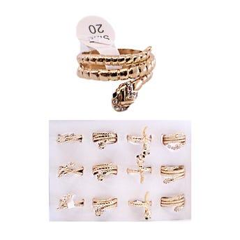 Anillo serpiente metalíca en espiral con cristales, dorado, tallas y modelos surtidos.