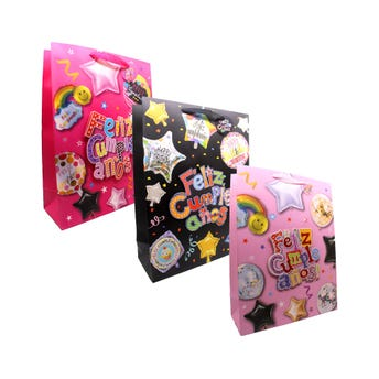 Bolsa para regalo 3D con glitter FELLIZ CUMPLEAÑOS, modelos surtidos, 40 x 30 x 12 cm.
