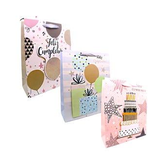 Bolsa para regalo 3D, FELLIZ CUMPLEAÑOS, modelos surtidos, col pastel, 32 X 26 X 10 cm.