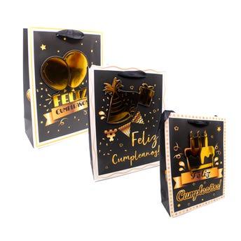 Bolsa para regalo 3D, FELLIZ CUMPLEAÑOS, modelos surtidos, dorado con blanco y negro, 24 X 18 X 8 cm