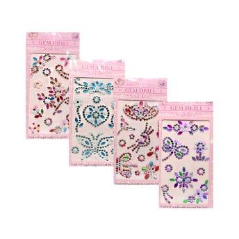 Sticker decorativo de brillantes, colores surtidos, inner por mod sujeto a disp, 12 X 7 cm.