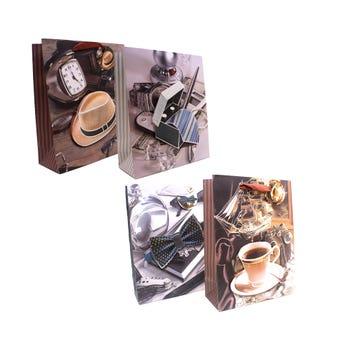 Bolsa para regalo 3D para caballero, modelos surtidos, 23.5 x 19.5 x 8 cm.