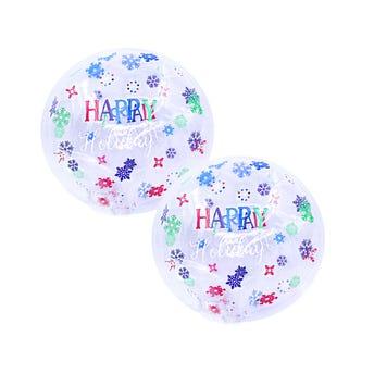 Globo burbuja decorado, NAVIDAD FELICES FIESTAS, 19 cm.