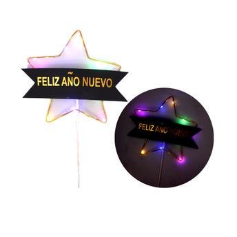 Vara estrella con luz, NAVIDAD FELIZ AÑO NUEVO, 21.5 cm.