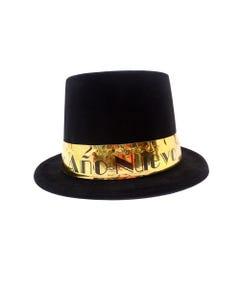 Sombrero bombín tipo terciopelo, NAVIDAD FELIZ AÑO NUEVO, negro, 24 x 28.5 cm.