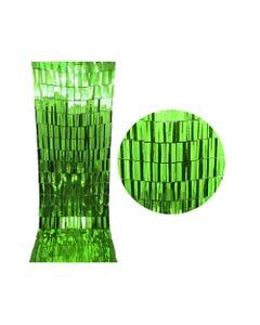 Cortina de papel metálico de cuadros, verde bandera, 2 mts x 90 cm aprox