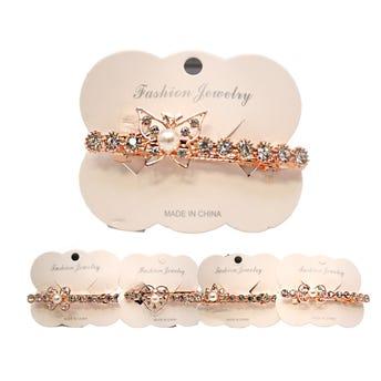 Broche francés para cabello con cristales y perla, inner por modelo sujeto a disp, dorado, 8 cm.