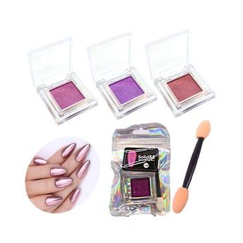 Polvo para uñas brilloso con aplicador, colores surtidos.