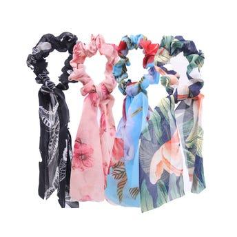 Dona para cabello textil con listón estampado, colores surtidos, inner por mod sujeto a disp, 7 X 23