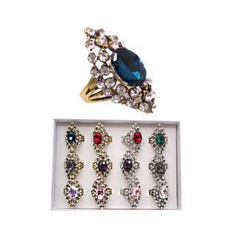 Anillo metálico con cristales, colores y tallas surtidos, dorado y plateado.