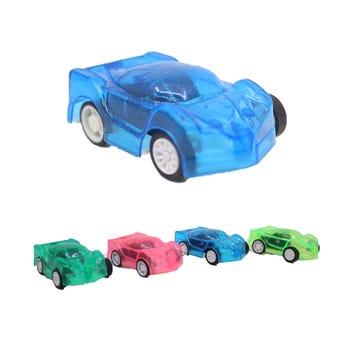 Carro de fricción, colores translúcidos surtidos, 5 X 3 X 1.5 cm.