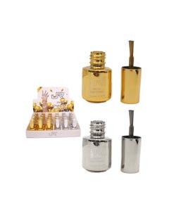 Esmalte para uñas efecto espejo, JR, dorado y plateado, surtidos 5 ml.
