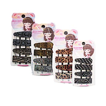 Cuca para cabello decorada, set con 4 pz, modelos surtidos, 5.5 cm.