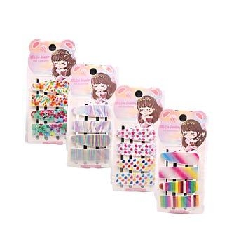 Cuca para cabello decorada, set con 4 pz, modelos y colores surtidos, 5.5 cm.