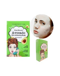Mascarilla facial textil de aguacate, KISS BEAUTY, 25 ml.