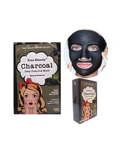 Mascarilla facial textil de carbón, KISS BEAUTY, 25 ml.