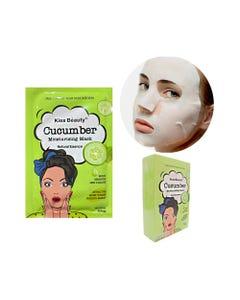 Mascarilla facial textil de pepino, KISS BEAUTY, 25 ml.