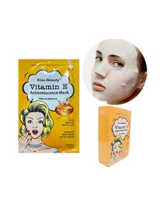 Mascarilla facial textil de vitamina E, KISS BEAUTY, 25 ml.