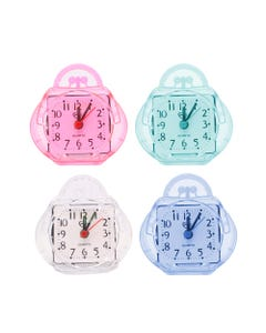 Reloj y despertador QUARTZ en forma de maleta, colores translúcidos surt sujetos a disp, 8 x 9 cm
