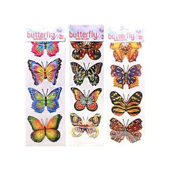 Sticker mariposa 3D en set con 4 pz, modelos surtidos, 11 x 8 cm aprox.
