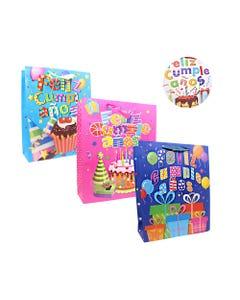 Bolsa para regalo con glitter FELIZ CUMPLEAÑOS, modelos surtidos, 32 x 26 x 10 cm.