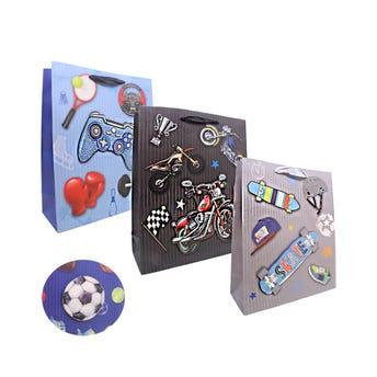 Bolsa para regalo 3D para niiño, modelos surtidos, 32 X 26 X 10 cm.