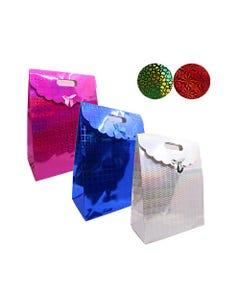 Bolsa para regalo de holograma con moño, colores surtidos, 37 X 28 X 15 cm.